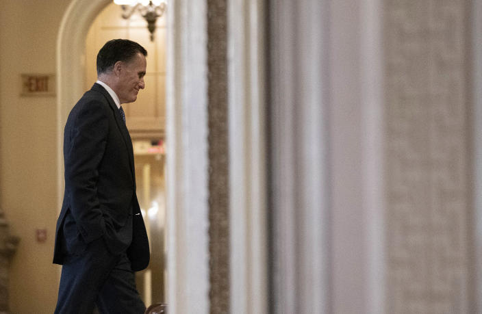 Sen. Mitt Romney (R-Utah) heads to the Senate chamber after a break in the impeachment trial of President Donald Trump at the Capitol in Washington, on Friday, Jan. 31, 2020. (Anna Moneymaker/The New York Times)