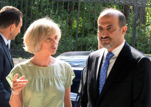 Ahmad Jarba with Elisabeth Guigou, head of the French national assembly Foreign Affairs commitee, July 23, 2013