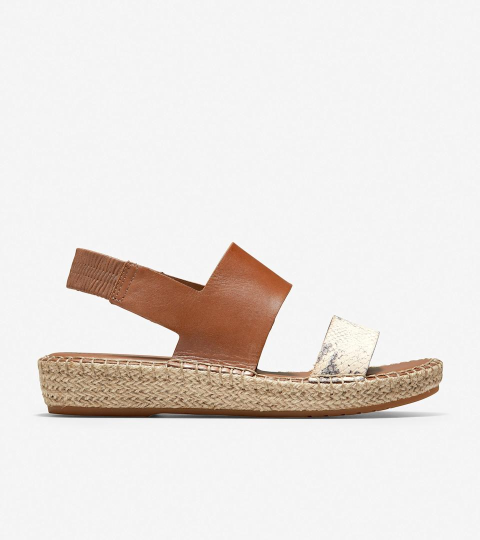 "<h3>Cole Haan Cloudfeel Espadrille Sandal</h3><br>Cole Haan has a quiet legion of superfans who snatch up pieces like their <a href=""https://www.colehaan.com/grand-crosscourt-street-sneaker-ivory-leather-rose-suede/W18324.html"" rel=""nofollow noopener"" target=""_blank"" data-ylk=""slk:Crosscourt Sneaker"" class=""link rapid-noclick-resp"">Crosscourt Sneaker</a> and <a href=""https://www.colehaan.com/josie-block-heel-sandal-ivory-black-leather/W18286.html"" rel=""nofollow noopener"" target=""_blank"" data-ylk=""slk:Josie Sandal"" class=""link rapid-noclick-resp"">Josie Sandal</a> with a quickness. These espadrilles are equipped with a dual-density internal wedge to provide both stability and support, along with the brand's signature ""Cloudfeel"" technology for a super-comfy footbed.<br><br><em>Shop <strong><a href=""https://www.colehaan.com/"" rel=""nofollow noopener"" target=""_blank"" data-ylk=""slk:Cole Haan"" class=""link rapid-noclick-resp"">Cole Haan</a></strong></em><br><br><strong>Cole Haan</strong> Cloudfeel Espadrille Sandal, $, available at <a href=""https://go.skimresources.com/?id=30283X879131&url=https%3A%2F%2Fwww.colehaan.com%2Fcloudfeel-espadrille-sandal-british-tan-python-print%2FW17066.html"" rel=""nofollow noopener"" target=""_blank"" data-ylk=""slk:Cole Haan"" class=""link rapid-noclick-resp"">Cole Haan</a>"