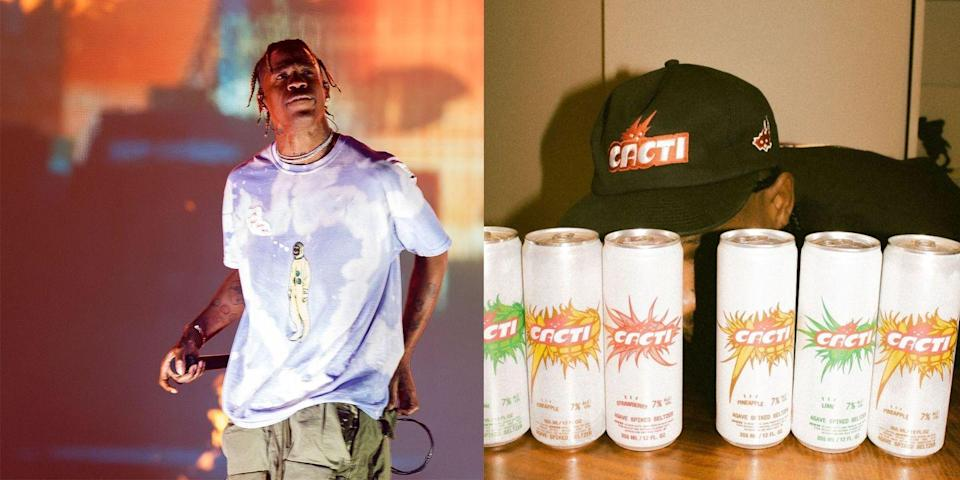 """<p>Travis first confirmed the existence of this tequila-seltzer back in December, writing on <a href=""""https://www.instagram.com/p/CI59DMiDRJl/?utm_source=ig_embed"""" rel=""""nofollow noopener"""" target=""""_blank"""" data-ylk=""""slk:Instagram"""" class=""""link rapid-noclick-resp"""">Instagram</a> that he'd """"been working on this for a minute."""" Now, CACTI is finally available for purchase. The one-of-a-kind blue agave drink comes in nine- and twelve-packs featuring its three flavors: lime, pineapple, and strawberry. It's mostly sold out online (probably because of its recent Grammys commercial!), but keep trying to get your hands on some. It'll be worth it. </p><p><a class=""""link rapid-noclick-resp"""" href=""""https://go.redirectingat.com?id=74968X1596630&url=https%3A%2F%2Fdrizly.com%2Fbeer%2Fspecialty-beer-alternatives%2Fhard-seltzer%2Fcacti-pineapple-lime-and-strawberry-agave-spiked-seltzer-variety-pack%2Fp138431&sref=https%3A%2F%2Fwww.delish.com%2Ffood%2Fg32949671%2Fcelebrity-alcohol-brands%2F"""" rel=""""nofollow noopener"""" target=""""_blank"""" data-ylk=""""slk:BUY NOW"""">BUY NOW</a> <strong><em>$20, drizly.com</em></strong></p>"""