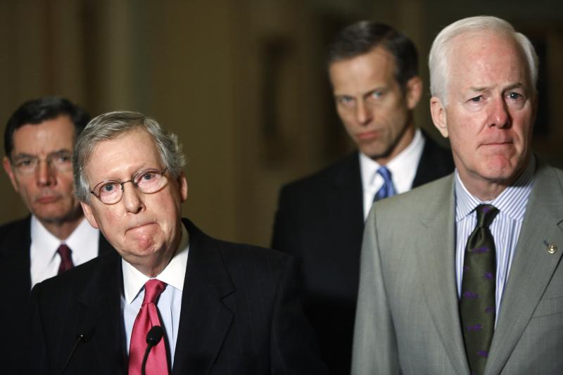 Barrasso, McConnell, Thune and Cornyn speak to reporters after their weekly Republican caucus lunch meeting in Washington