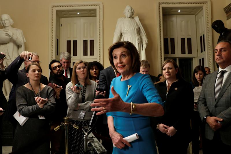 House Speaker Nancy Pelosi (D-CA) speaks to the media about a coronavirus economic aid package on Capitol Hill in Washington, U.S., March 13, 2020. REUTERS/Yuri Gripas