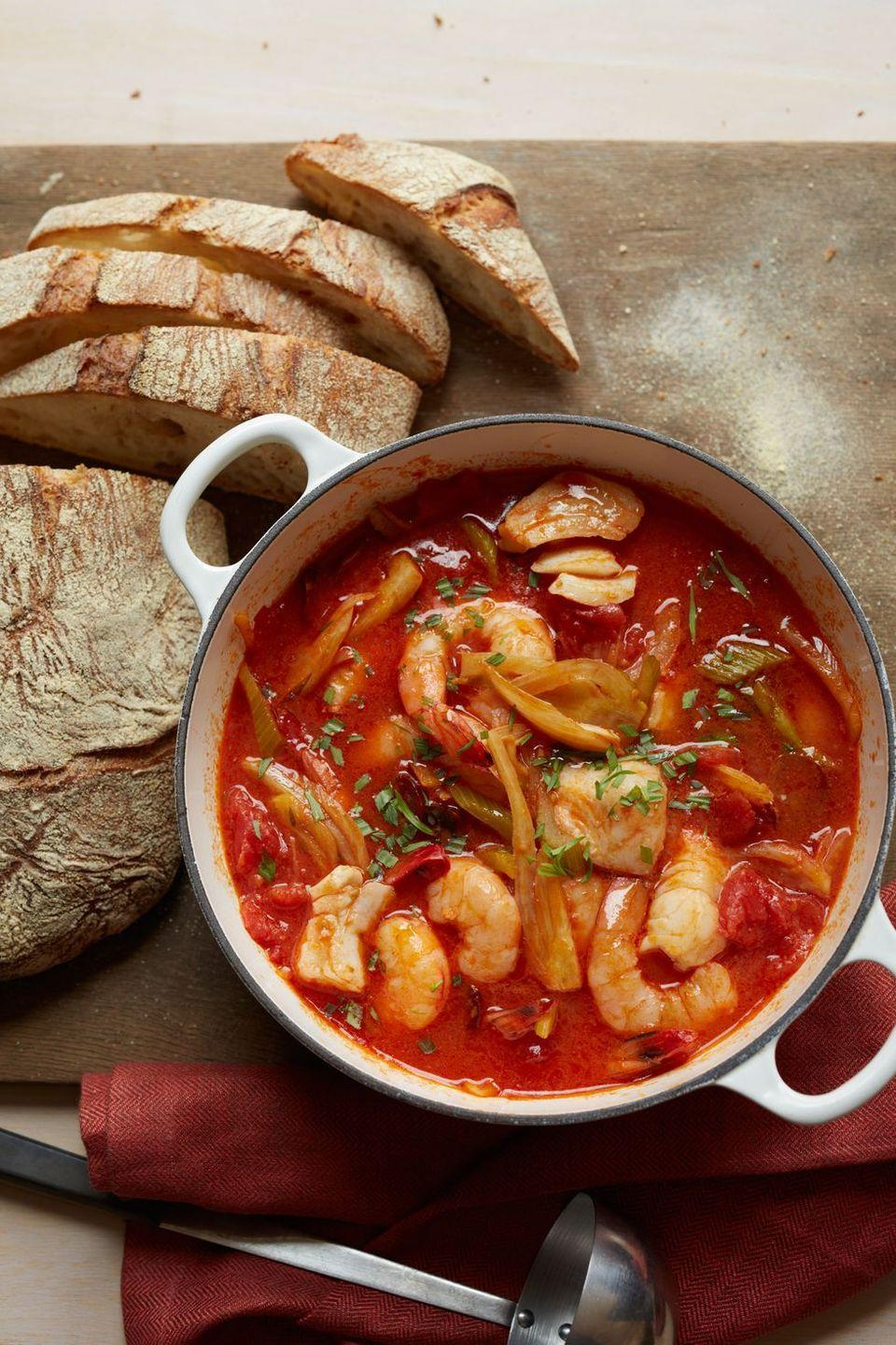 """<p>Nothing complements a tomato-rich broth more than spicy chorizo and sweet, tender seafood.</p><p><em><a href=""""https://www.womansday.com/food-recipes/food-drinks/recipes/a11362/seafood-chorizo-vegetable-stew-recipe-wdy1013/"""" rel=""""nofollow noopener"""" target=""""_blank"""" data-ylk=""""slk:Get the Seafood, Chorizo, and Vegetable Stew recipe"""" class=""""link rapid-noclick-resp"""">Get the Seafood, Chorizo, and Vegetable Stew recipe</a>.</em></p><p><strong><strong>What You'll Need: </strong></strong><a href=""""https://www.amazon.com/Cook-Home-Stainless-Stockpot-Saucepot/dp/B012OIVV1C/"""" rel=""""nofollow noopener"""" target=""""_blank"""" data-ylk=""""slk:Large pot"""" class=""""link rapid-noclick-resp"""">Large pot</a> ($36, Amazon)<br></p>"""