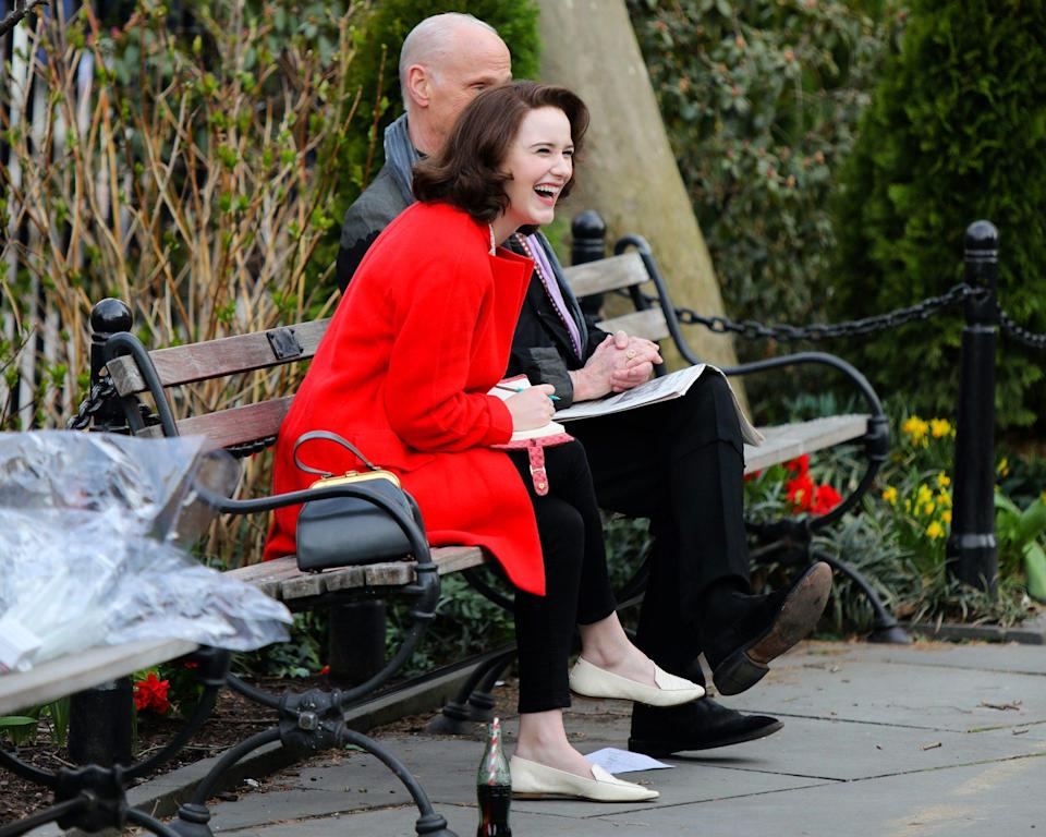 <p>Rachel Brosnahan cracks up while filming <em>The Marvelous Mrs. Maise</em>l on Wednesday in downtown N.Y.C.</p>