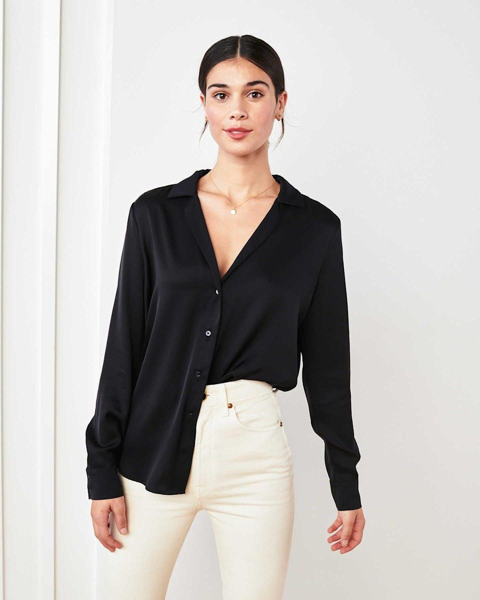 what-to-wear-with-mom-jeans-Washable Stretch Silk Blouse