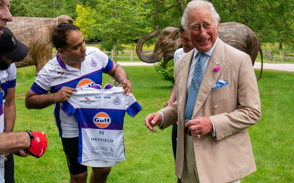 """The Prince of Wales at the """"Palaces on Wheels"""" charity cycling event at Highgrove on June 10 - WPA Pool/Getty Images"""
