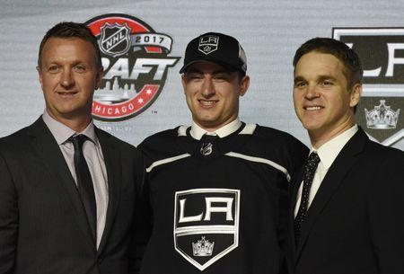 June 23, 2017; Chicago, IL, USA; Gabriel Vilardi after being selected as the number eleven overall pick to the Los Angeles Kings in the first round of the 2017 NHL Draft at the United Center. Mandatory Credit: David Banks-USA TODAY Sports