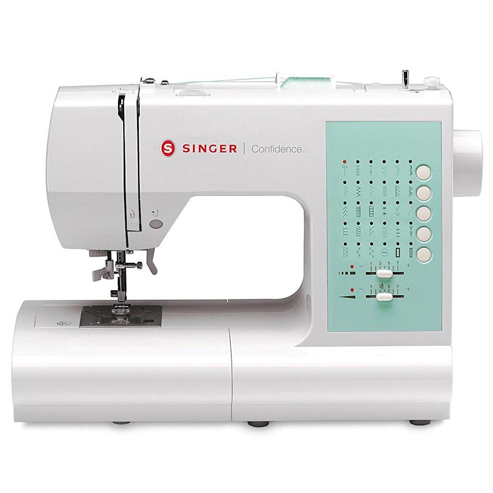 "<p><strong>Singer</strong></p><p>sewingmachinesplus.com</p><p><strong>$269.00</strong></p><p><a href=""https://go.redirectingat.com?id=74968X1596630&url=https%3A%2F%2Fwww.sewingmachinesplus.com%2F7363-confidence.php&sref=https%3A%2F%2Fwww.goodhousekeeping.com%2Fhome-products%2Fg27760473%2Fbest-sewing-machines-for-beginners%2F"" rel=""nofollow noopener"" target=""_blank"" data-ylk=""slk:Shop Now"" class=""link rapid-noclick-resp"">Shop Now</a></p><p>The Singer Confidence 7363 sewing machine is perfect for the beginner sewer with ambitions for more advanced projects. For easier threading, there's <strong>a drop in bobbin instead of the standard style. </strong>Beginners will appreciate that the speed is adjustable to avoid going too fast when learning; there is also a start/stop button to stop suddenly if you made a mistake. As you advance, this machine has 100 stitches, 6 buttonhole options, a built in needle threader and programmable needle up/down. These features are great for making clothes, quilts, and everything in between. We love that the tension can be adjusted, but it also will automatically adjust to different fabrics. </p>"