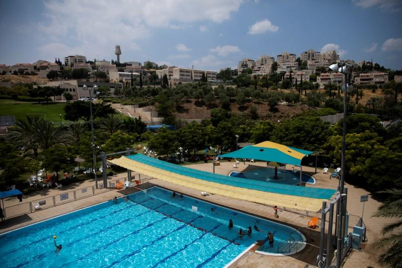 FILE PHOTO: A general view picture shows a public pool in the Israeli settlement of Maale Adumim in the occupied West Bank