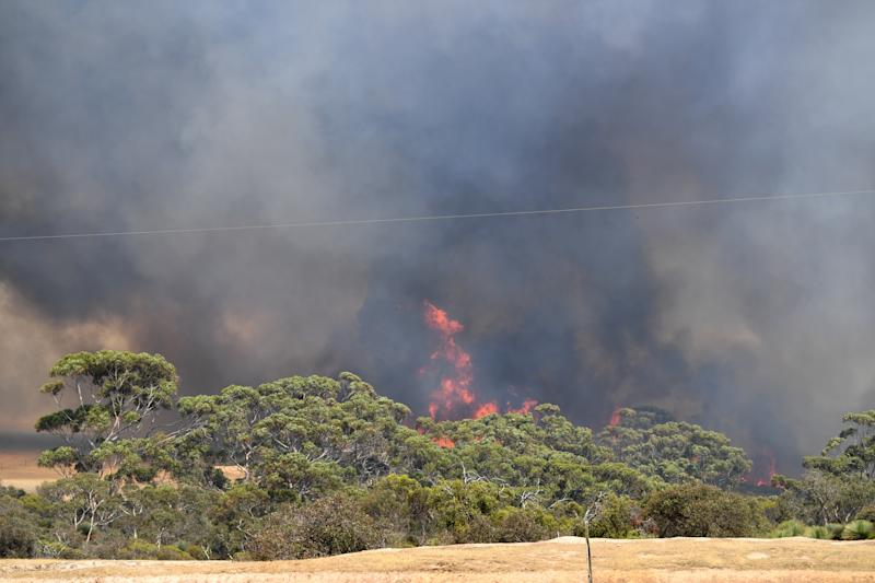 A general view of the bushfires sweeping through Stokes Bay on Kangaroo Island, southwest of Adelaide.