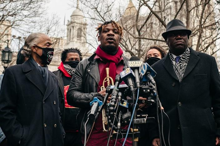 Jazz musician Keyon Harrold speaks at a press conference held in lower Manhattan on December 30, 2020 in New York City. (Photo by Scott Heins/Getty Images)