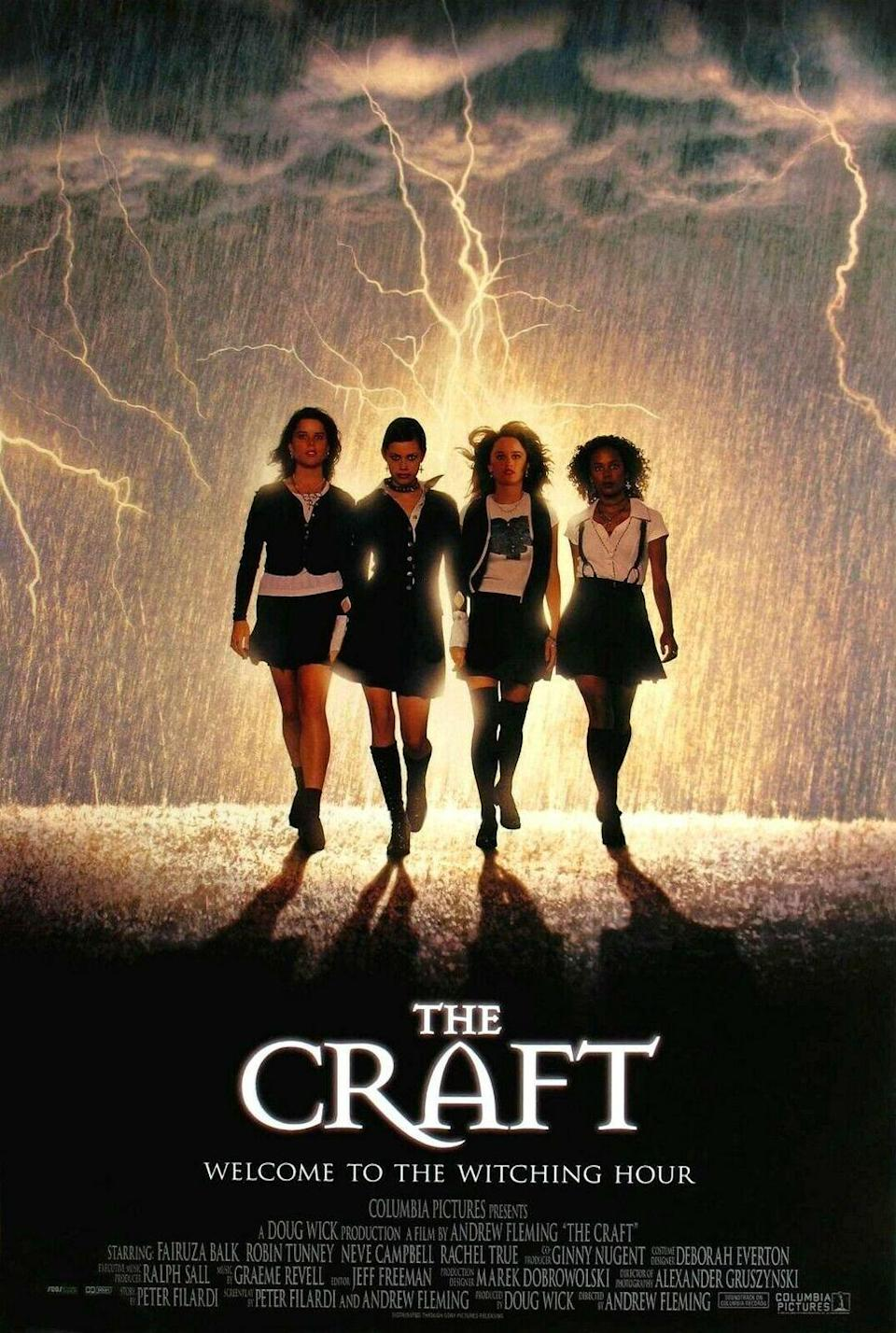 """<p>Pretty much the spooky version of <em>Mean Girls</em>, <em>The Craft </em>follows Sarah as she enrolls in a new prep school and falls in with three girls who practice witchcraft. Soon, they begin conjuring up various spells and curses against those who even slightly anger them and, obviously, chaos ensues. </p><p><a class=""""link rapid-noclick-resp"""" href=""""https://www.amazon.com/Craft-Robin-Tunney/dp/B000MQ7B0O/?tag=syn-yahoo-20&ascsubtag=%5Bartid%7C10065.g.29354714%5Bsrc%7Cyahoo-us"""" rel=""""nofollow noopener"""" target=""""_blank"""" data-ylk=""""slk:Watch Now"""">Watch Now</a></p>"""