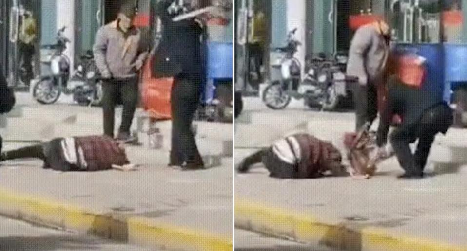 Video shows a man beating a woman on the street in China.