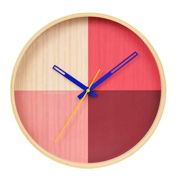 """Basically overblown gingham in clock form, this charming pick from West Elm is available in two equally sweet colorways. It measures 12.6 inches in diameter. $75, West Elm. <a href=""""https://www.westelm.com/products/flor-wall-clock-d11301/"""" rel=""""nofollow noopener"""" target=""""_blank"""" data-ylk=""""slk:Get it now!"""" class=""""link rapid-noclick-resp"""">Get it now!</a>"""