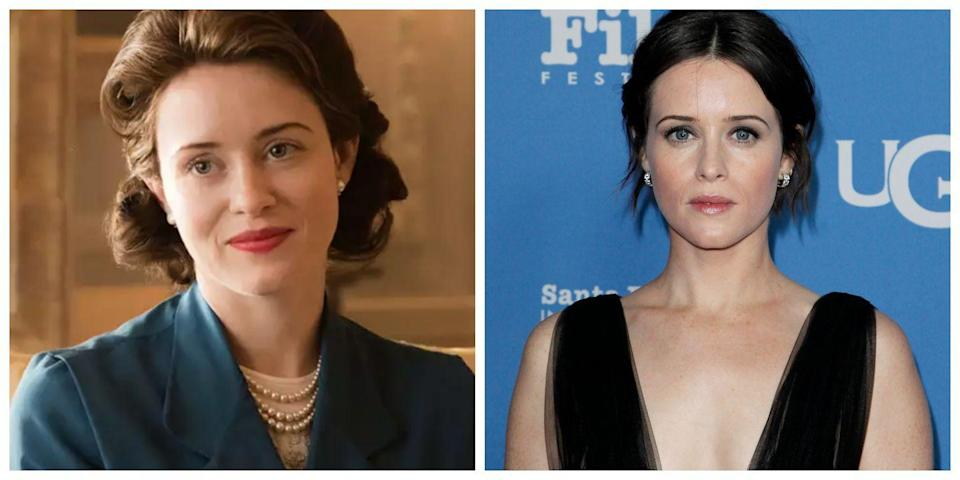 <p>Claire Foy pulled off playing a young Queen Elizabeth in <em>The Crown</em> so well that it was almost hard to imagine her looking any other way. In real life, Foy has darker hair and her style isn't nearly as old-fashioned as her character's. Actually, she doesn't really look like Queen Elizabeth on the red carpet at all! </p>