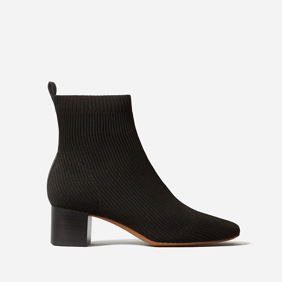 """<h4><h2>The Glove Boot ReKnit<br></h2></h4><br>Everlane customers — <a href=""""https://www.refinery29.com/en-us/everlane-rothys-allbirds-review-compare"""" rel=""""nofollow noopener"""" target=""""_blank"""" data-ylk=""""slk:including us!"""" class=""""link rapid-noclick-resp"""">including us!</a> – were evangelical about the brand's comfortable and eco-friendly <a href=""""https://www.everlane.com/products/womens-reknit-day-glove-white"""" rel=""""nofollow noopener"""" target=""""_blank"""" data-ylk=""""slk:ReKnit flat"""" class=""""link rapid-noclick-resp"""">ReKnit flat</a>, so they added some surface area and a little heigh to make a chic, easy, and sustainable boot for every day.<br><br><strong>Everlane</strong> The Glove Boot ReKnit, $, available at <a href=""""https://go.skimresources.com/?id=30283X879131&url=https%3A%2F%2Fwww.everlane.com%2Fproducts%2Fwomens-day-boot-reknit-black%3Fcollection%3Dwomens-boots"""" rel=""""nofollow noopener"""" target=""""_blank"""" data-ylk=""""slk:Everlane"""" class=""""link rapid-noclick-resp"""">Everlane</a>"""