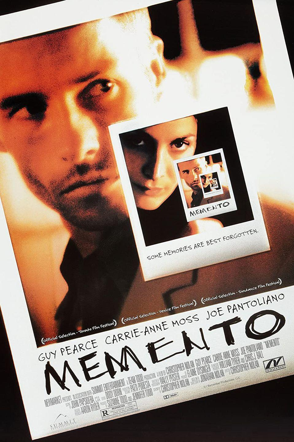 <p>Guy Pearce stars as a man struggling to find the man who murdered his wife because he can't retain memories for more than fifteen minutes. Released on March 16, 2001, the twists in Memento will keep your mind swirling far after the closing credits. </p>
