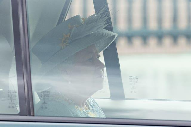The Queen leaves Buckingham Palace to deliver the speech