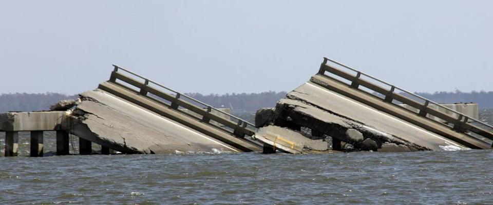 A bridge that collapsed in Biloxi, Mississippi, during Hurricane Katrina in 2005