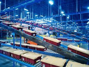 McKesson distribution center showing conveyor and sortation systems at a similar McKesson distribution center facility. Photo courtesy of McKesson