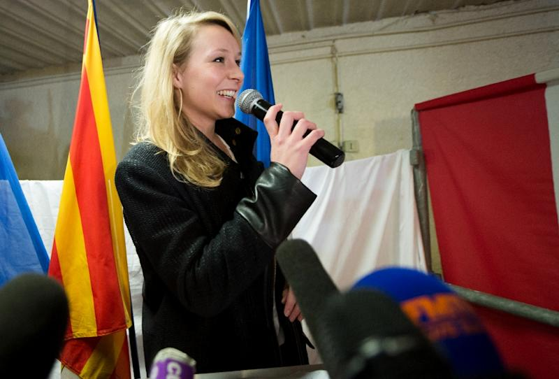 French far-right Front National party's MP Marion Marechal-Le Pen gives a speech on March 29, 2015 in Carpentras, France (AFP Photo/Bertrand Langlois)