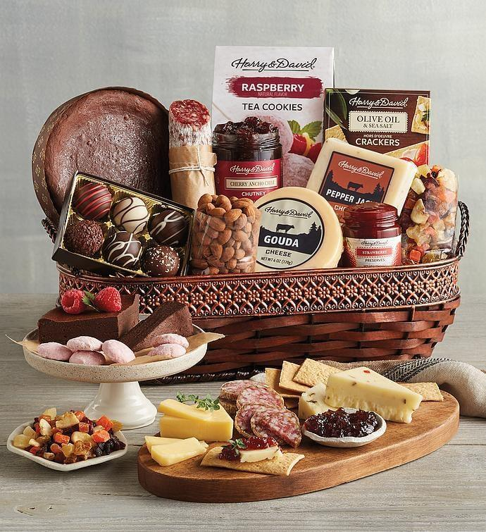 <p>This <span>Harry &amp; David Gourmet Specialty Snacks Basket</span> ($100) is such a treat.</p>