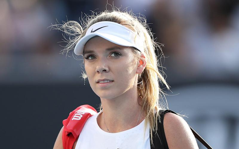 Katie Boulter walks off court after losing her Women's Singles first round match against Elina Svitolina of Ukraine on day two of the 2020 Australian Open - Mark Kolbe/Getty Images