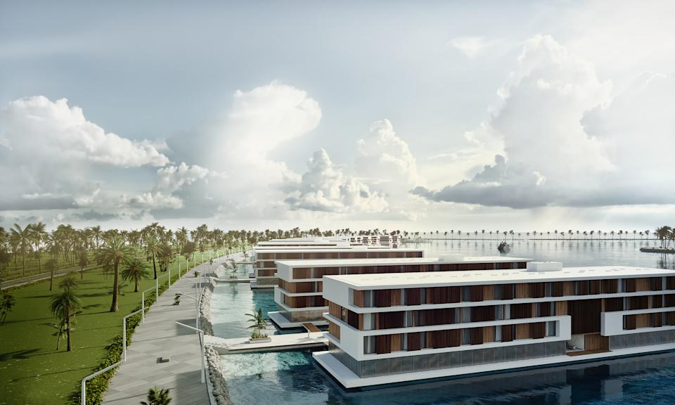 Identical, pre-assembled, buoyant luxury hotels will float to Qatar, beginning in 2021. Renderings and photos provided by: Admares.