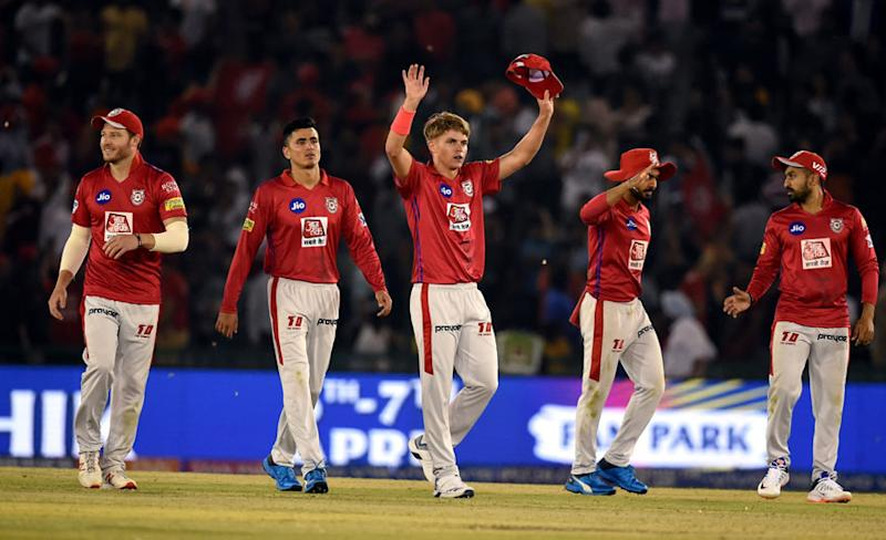 Sam Curran along with team members celebrates after claiming the wicket of DC's Colin Ingram during the Indian Premier League 2019 (IPL T20) cricket match in Mohali. (Image: PTI)