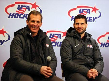 Jan 1, 2018; Queens, NY, USA; Team USA hockey Olympic player Brian Gionta (right) and head coach Tony Granato attend a press conference during the second period in the 2018 Winter Classic hockey game between the New York Rangers and the Buffalo Sabres at Citi Field. Mandatory Credit: Danny Wild-USA TODAY Sports
