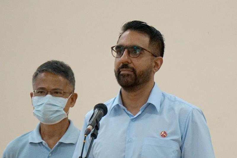 Pritam Singh, chief of the Workers' Party and one of its candidates for Aljunied GRC, seen during her team's 'thank you' speech at Deyi Secondary School on Nomination Day (30 June). (PHOTO: Dhany Osman / Yahoo News Singapore)