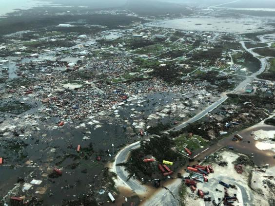 An aerial view shows devastation after hurricane Dorian hit the Abaco Islands in the Bahamas (Michelle Cove/Trans Island Airways/via REUTERS)