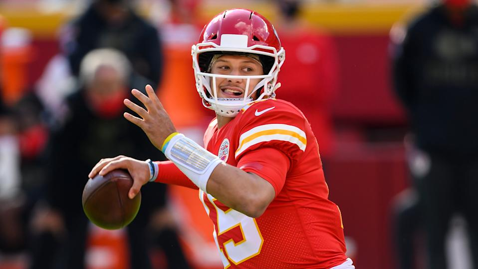 Kansas City Chiefs quarterback Patrick Mahomes during the first half of an NFL game against the Carolina Panthers on Nov. 8, 2020.