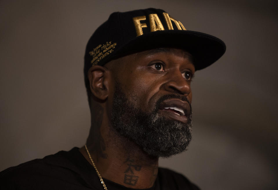 MINNEAPOLIS, MN - JUNE 2: Stephen Jackson, a friend of George Floyd, speaks at a press conference on June 2, 2020 in Minneapolis, Minnesota. The former NBA Player joined Roxie Washington, the mother of George Floyd's daughter Gianna Floyd, to speak about the impact of his death on their family. (Photo by Stephen Maturen/Getty Images)