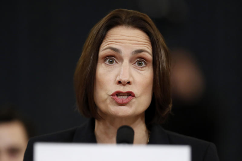 Former White House national security aide Fiona Hill testifies before the House Intelligence Committee on Capitol Hill in Washington, Thursday, Nov. 21, 2019, during a public impeachment hearing of President Donald Trump's efforts to tie U.S. aid for Ukraine to investigations of his political opponents. (Photo: Andrew Harnik/AP)