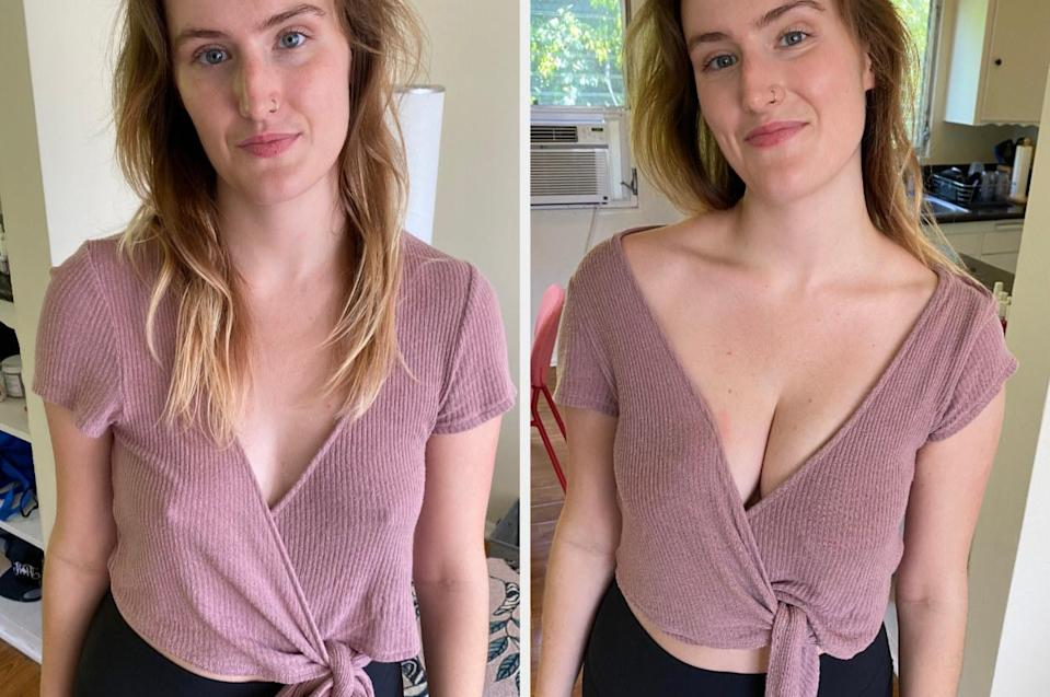 Shelby before and after trying on the Misses Kisses bra in a cotton wrap top