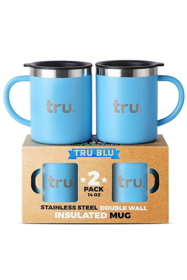 """<p>$22</p><p><a rel=""""nofollow"""" href=""""https://www.amazon.com/Stainless-Steel-Coffee-Mug-Lid/dp/B07GVDT7CG"""">BUY NOW</a></p><p>Whether they're into camping or just drink their java on the go, these insulated mugs have the spill protection of a travel cup, but the shape of a classic coffee cup. </p>"""