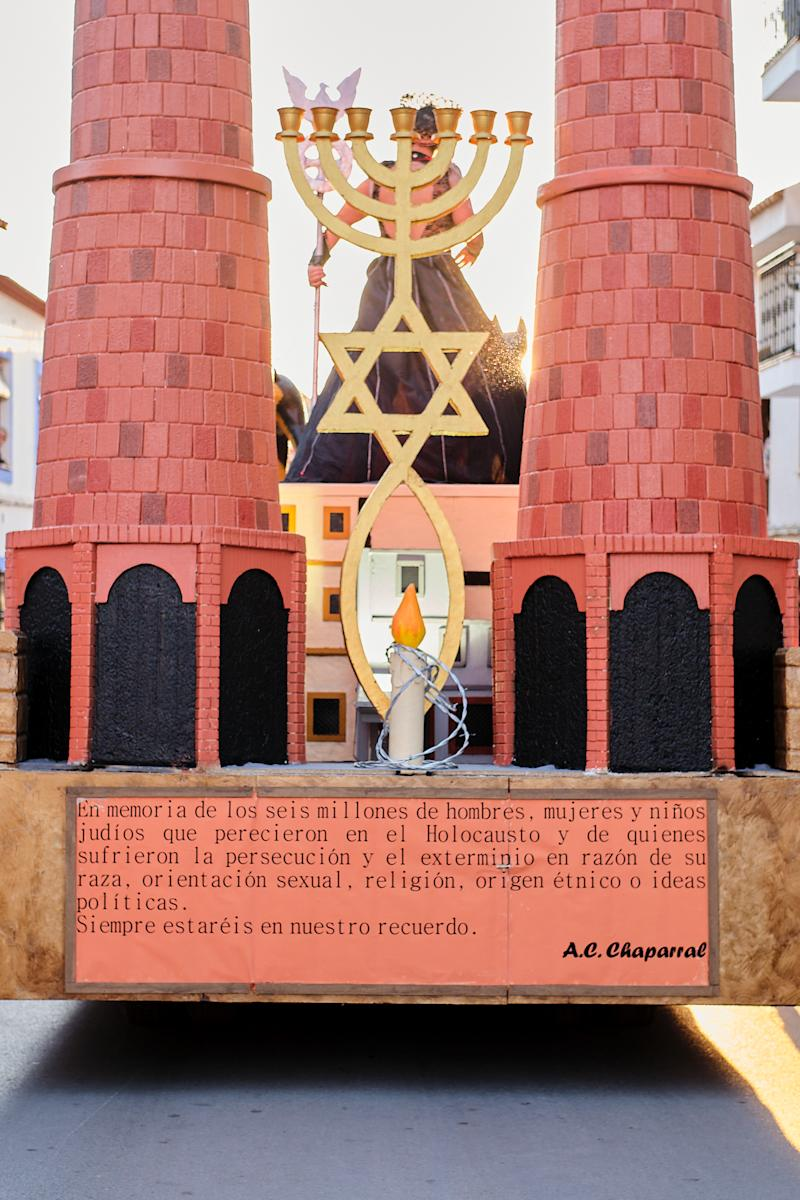 CAMPO DE CRIPTANA, SPAIN - FEBRUARY 24: A banner against the Holocaust is seen in a Holocaust-themed parade during Carnival festivities on February 24, 2020 in Campo de Criptana, Spain. The Embassy of Israel in Spain denounced the display as trivializing the Holocaust. (Photo by Rey Sotolongo /Europa Press via Getty Images)