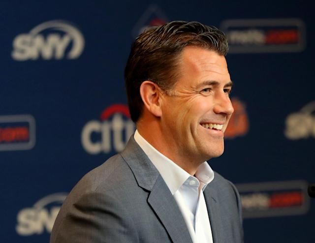 "NEW YORK, NEW YORK - MAY 20: <a class=""link rapid-noclick-resp"" href=""/mlb/teams/ny-mets/"" data-ylk=""slk:New York Mets"">New York Mets</a> general manager Brodie Van Wagenen answers questions during a press conference before the game between the New York Mets and the <a class=""link rapid-noclick-resp"" href=""/mlb/teams/washington/"" data-ylk=""slk:Washington Nationals"">Washington Nationals</a> at Citi Field on May 20, 2019 in the Flushing neighborhood of the Queens borough of New York City. (Photo by Elsa/Getty Images)"