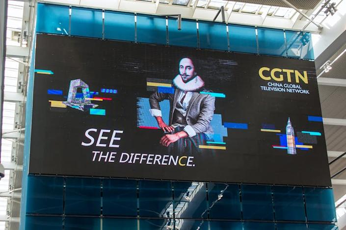 """<span class=""""caption"""">Advertising banner for China Global Television Network at Heathrow Airport Terminal Five.</span> <span class=""""attribution""""><span class=""""source"""">Mick Harper via Shutterstock</span></span>"""