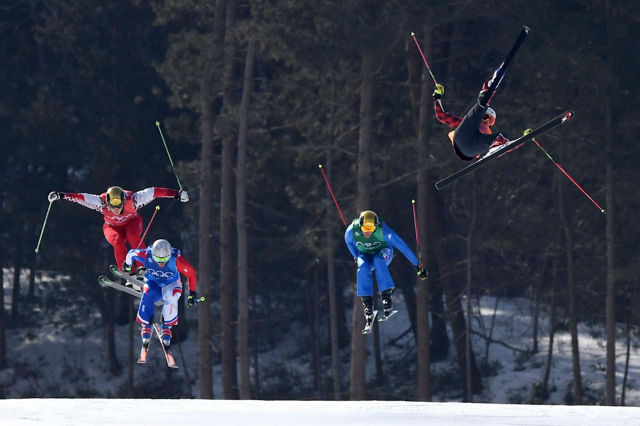 <p>Christopher Delbosco of Canada crashes in the Freestyle Skiing Men's Ski Cross 1/8 finals on day 12 of the PyeongChang 2018 Winter Olympic Games at Phoenix Snow Park on February 21, 2018 in Pyeongchang-gun, South Korea. (Photo by David Ramos/Getty Images) </p>