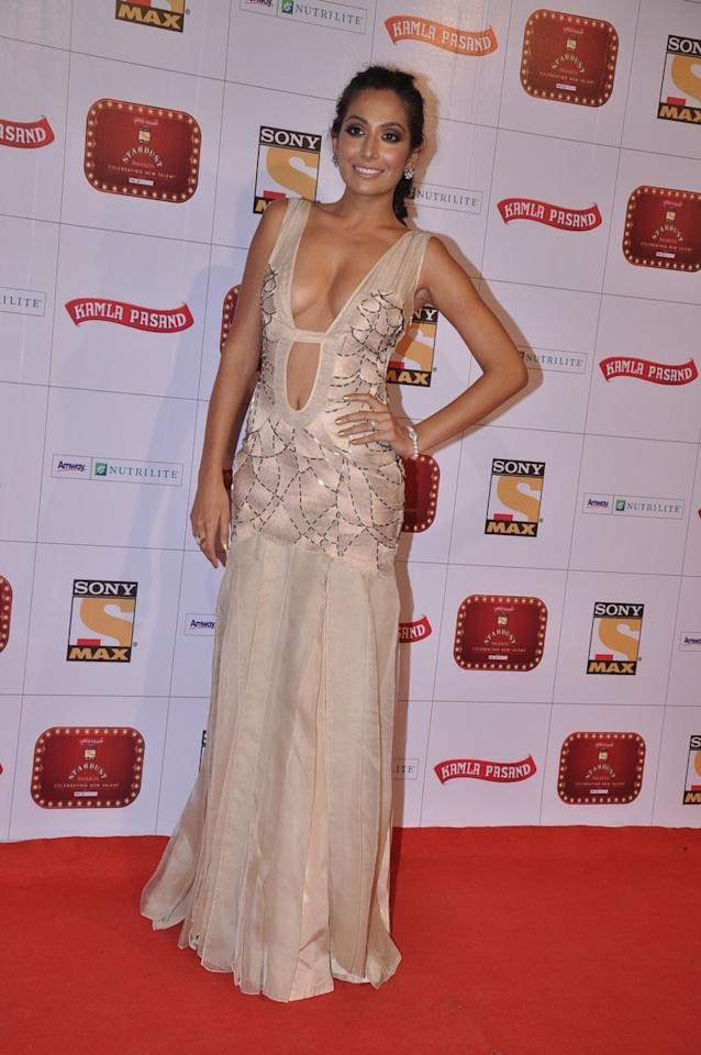 Monica Dogra goes for a bold look on the red carpet.