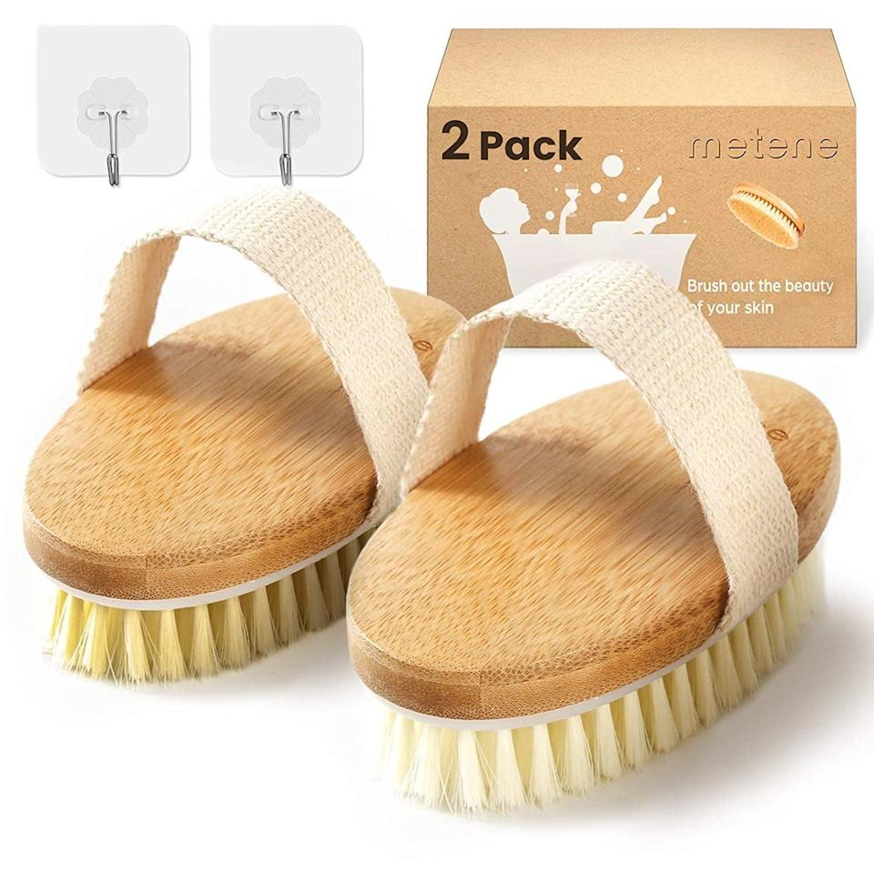 <p>Exfoliate while you give yourself a lymphatic massage before your bath with the <span>2 Pack Dry Brushing Body Brush with Soft and Stiff Natural Bristles</span> ($7).</p>
