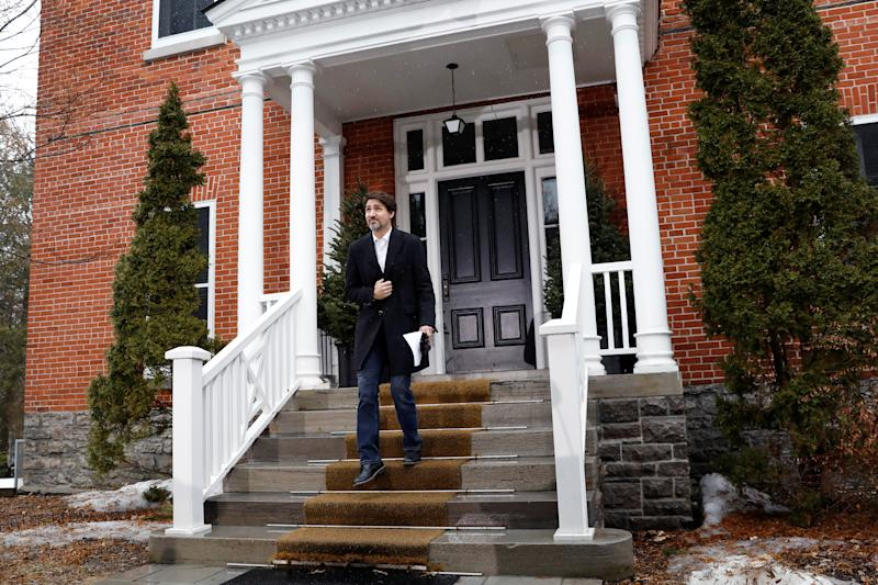 Canada's Prime Minister Justin Trudeau arrives to attend a news conference at Rideau Cottage as efforts continue to help slow the spread of coronavirus disease (COVID-19), in Ottawa, Ontario, Canada March 29, 2020. REUTERS/Blair Gable