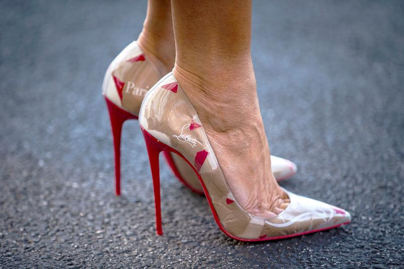 cd2766bdeb40 ... netherlands melania trumps 795 logo covered louboutin pumps are doing  the most 3a926 3356c hot christian ...