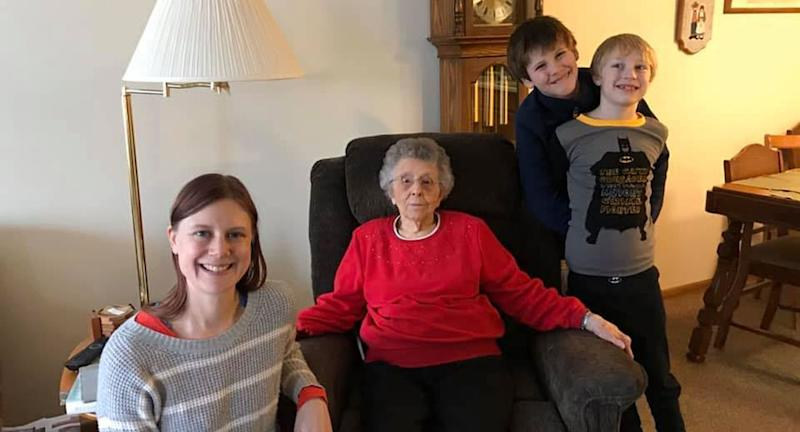 Pictured is Kjersten Schladetzky, 39, and her two sons Nelson, 8, and William, 11. Also pictured is Inez Elliott.