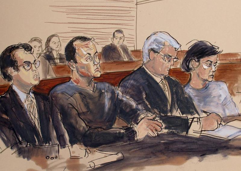 "This courtroom sketch shows Mark L Hotton, second from left, at an arraignment in US District Court in Central Islip, NY., Monday, Oct. 15, 2012. Hotton, a former stock broker accused of swindling the producers of a Broadway adaptation of ""Rebecca"", has pleaded not guilty to fraud and money-laundering charges in a separate case. (AP Photo/Elizabeth Williams)"
