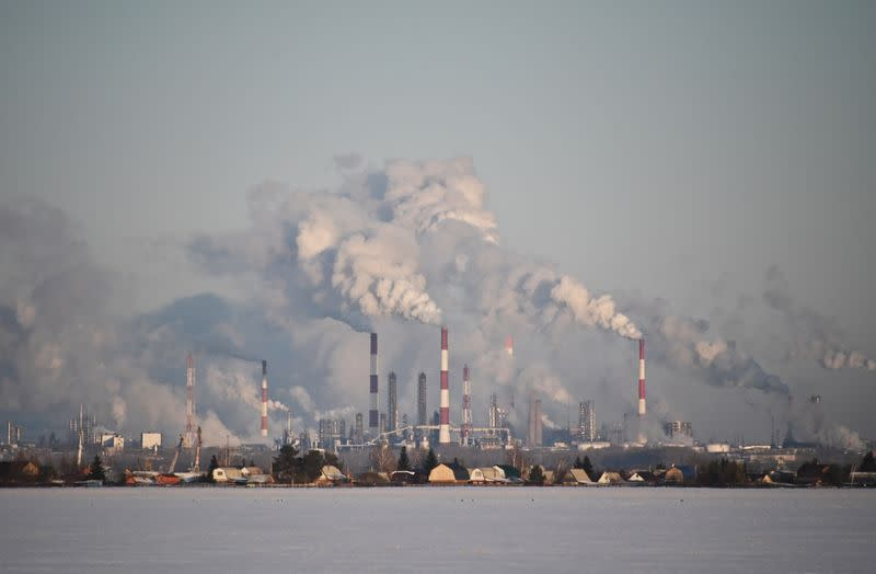 A view shows the Gazprom Neft's oil refinery in Omsk