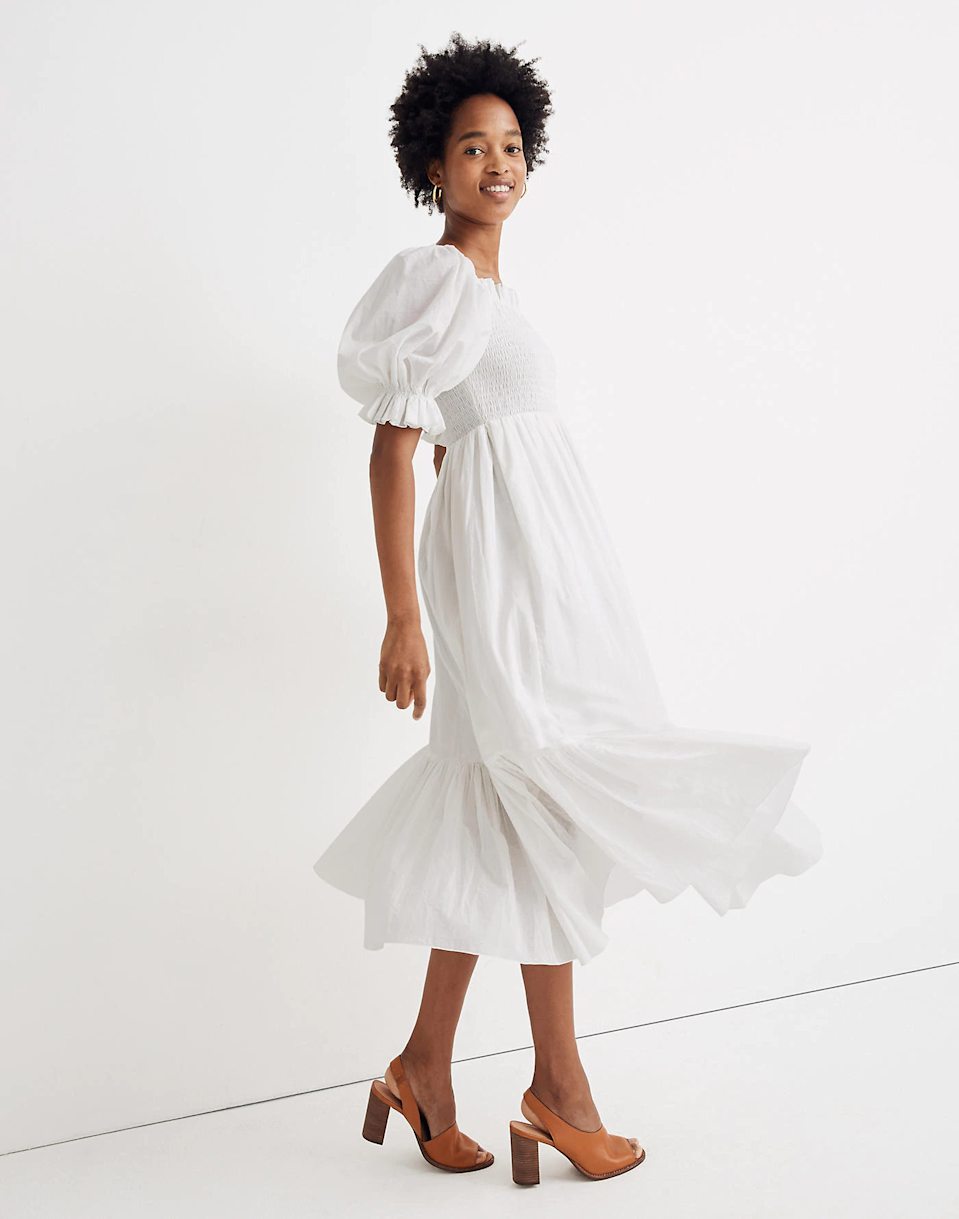 """<br> <br> <strong>Madewell</strong> Andromeda Ruffle Midi Dress, $, available at <a href=""""https://go.skimresources.com/?id=30283X879131&url=https%3A%2F%2Fwww.madewell.com%2Fkaren-walkerreg%253B-andromeda-ruffle-midi-dress-AK696.html%3Fdwvar_AK696_color%3DEB6410%26cgid%3Dapparel-dress%23start%3D91"""" rel=""""nofollow noopener"""" target=""""_blank"""" data-ylk=""""slk:Madewell"""" class=""""link rapid-noclick-resp"""">Madewell</a>"""