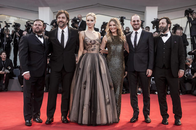 """<p>Lawrence poses on the red carpet with her co-stars during the 2017 <a href=""""https://www.yahoo.com/entertainment/tagged/venice-film-festival"""" data-ylk=""""slk:Venice Film Festival"""" class=""""link rapid-noclick-resp"""">Venice Film Festival</a>. The film's premiere at the festival was met by critics with mixed reviews. The director seems to delight in leaving the audience scratching their heads, telling <a href=""""https://www.yahoo.com/movies/jennifer-lawrence-gets-chills-horror-story-mother-113143752.html"""" data-ylk=""""slk:reporters;outcm:mb_qualified_link;_E:mb_qualified_link"""" class=""""link rapid-noclick-resp newsroom-embed-article"""">reporters</a> """"I've been making it clear that this is a roller-coaster ride: only come on it if you are really prepared to do the loop-the-loop a few times."""" As for his leading lady, she responded to the character, a departure from her typical spirited female roles, <a href=""""https://www.yahoo.com/movies/jennifer-lawrence-gets-chills-horror-story-mother-113143752.html"""" data-ylk=""""slk:saying at the Venice press conference for the film;outcm:mb_qualified_link;_E:mb_qualified_link"""" class=""""link rapid-noclick-resp newsroom-embed-article"""">saying at the Venice press conference for the film</a>, """"It was difficult. It was the most I've ever had to pull out of myself."""" (Photo: Getty Images) </p>"""